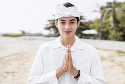 Portrait of a Balinese teenager wearing a special Balinese traditional ceremony