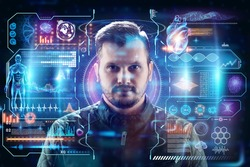 Portrait of a bearded man against the background of a hologram with various details. The concept of new technologies, database, face recognition, spying on people