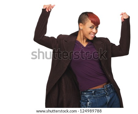 Portrait of a beautiful African American girl with arms up