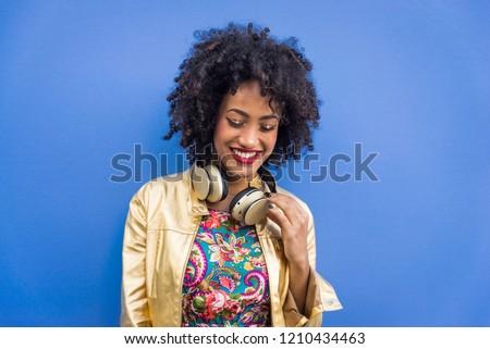 Portrait of a beautiful afroamerican young woman #1210434463