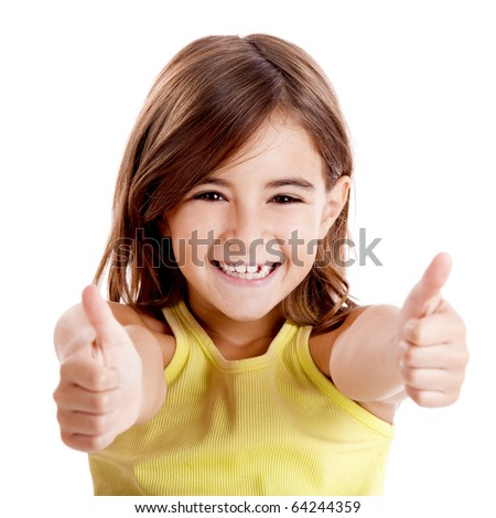 Portrait of a beautiful and confident girl showing thumbs up isolated one white #64244359
