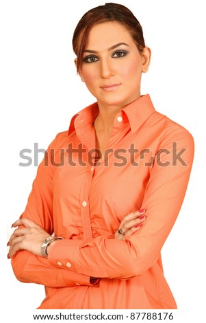 Portrait of a beautiful and confident young business woman smiling