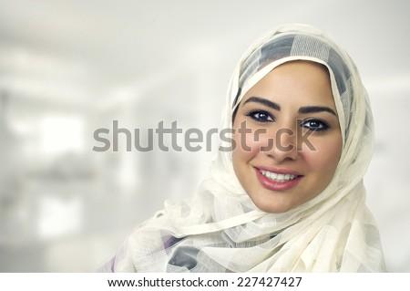 Portrait of a beautiful Arabian Woman wearing Hijab, Muslim Woman wearing Hijab   stock photo