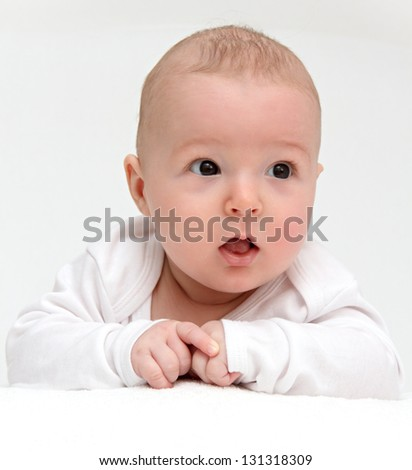 Portrait of a beautiful baby on white