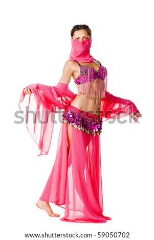 portrait of a beautiful belly dancer with pink shawl