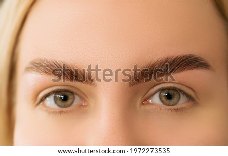 Portrait of a beautiful blond with laminated eyebrows. Smiling girl with brow styling. ストックフォト ©