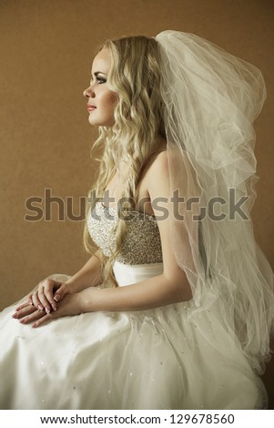 portrait of a beautiful blonde bride over wooden background. daylight. studio shot
