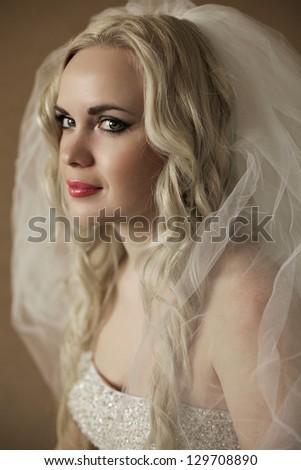 Portrait of a beautiful blonde bride posing over wooden background. daylight. studio shot