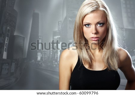 portrait of a beautiful blonde woman. Happy and smiling