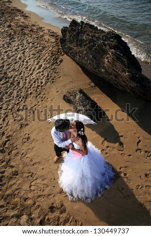 portrait of a beautiful bride and groom at the beach