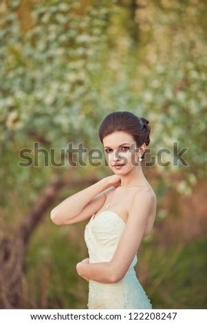 Portrait of a beautiful brunette bride