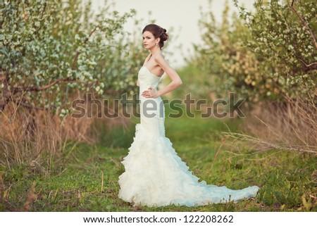 Portrait of a beautiful brunette bride - stock photo