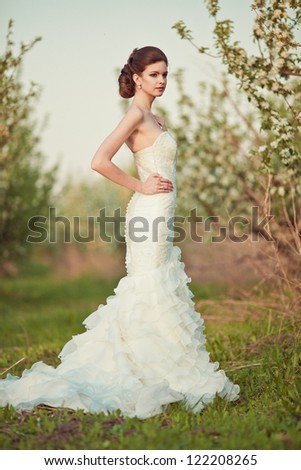 Portrait of a beautiful brunette bride