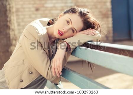 portrait of a beautiful brunette waiting