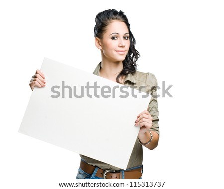 Portrait of a beautiful brunette woman holding empty white billboard.