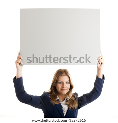 Portrait of a beautiful business woman holding a blank billboard over her head. - stock photo