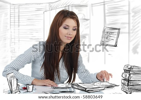 Portrait of a beautiful business woman in the office doing some paperwork