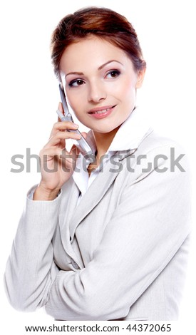 Portrait of a beautiful business woman talking by cell phone