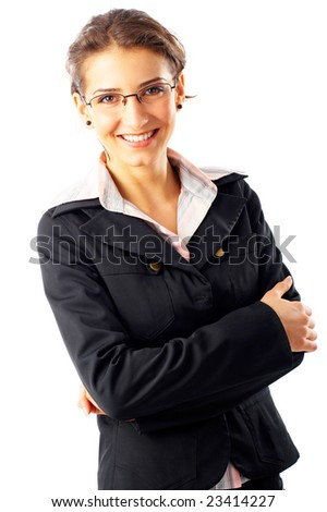 Portrait of a beautiful businesswoman, isolated on a white background - stock photo