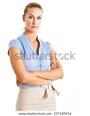 Portrait of a beautiful businesswoman. Isolated on white