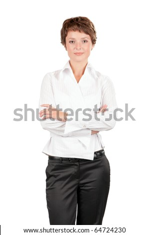 Portrait of a beautiful  businesswoman isolated on white background