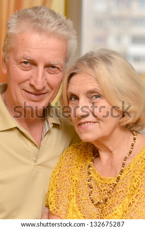Portrait of a beautiful caucasian elderly couple relaxing at home