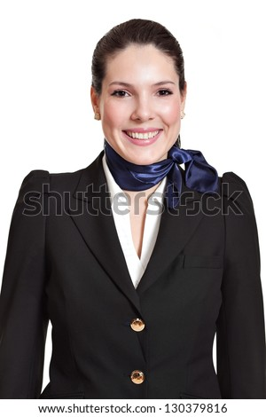 portrait of a beautiful dark haired young business woman dressed in a black suit with a blue scarf, smiling, natural makeup, isolated on white background