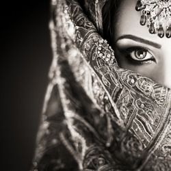 Portrait of a beautiful female fashion model in makeup
