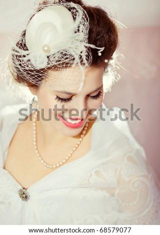 Portrait of a beautiful flirty bride
