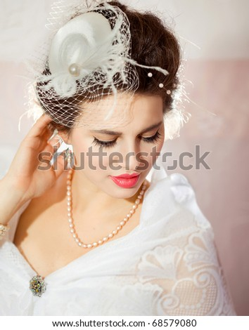 Portrait of a beautiful flirty bride