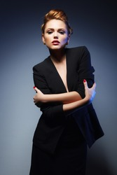 Portrait of a beautiful girl in a black jacket