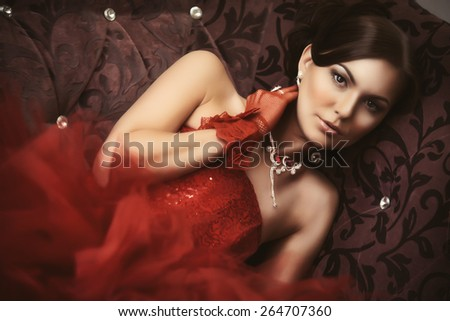 portrait of a beautiful girl in a wedding dress interior