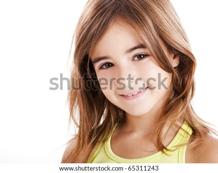 Portrait of a beautiful girl isolated one white