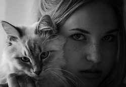 Portrait of a beautiful girl with a kitten. The photo is black and white.Image with selective focus and toning. Image with noise effects. Focus on the eyes.