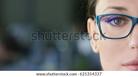 Portrait of a beautiful girl with glasses, eyes closed, shot close-up, on a blurred background. Concept: beautiful eyes, beautiful smile, vision, perfect skin.  #625354337
