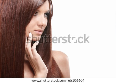 Portrait of a beautiful girl with long hair isolated