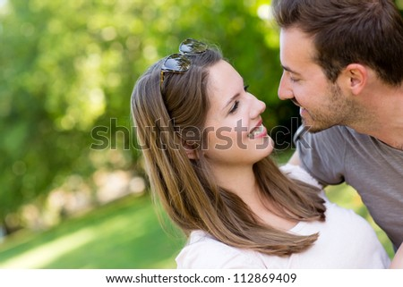 Portrait of a beautiful happy couple outdoors