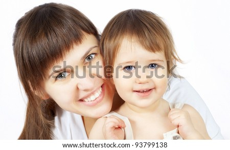 Portrait of a beautiful happy mother and the little cute baby