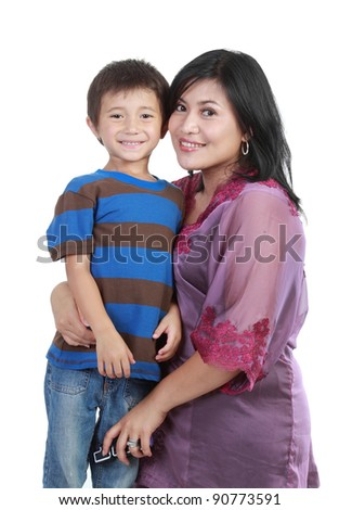 Portrait of a beautiful happy mother with smiling boy isolated on white background