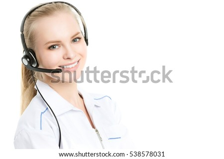 Portrait of a beautiful medical secretary with handset at hospital. Online consultation.