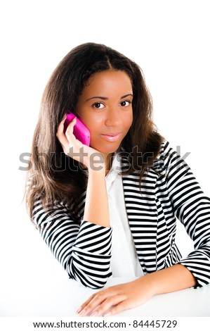 stock photo portrait of a beautiful mixed race teen girl on a mobile telephone with long dark hair isolated 84445729 2pcs Sexy Alluring Nurse Costume Uniform set (size 10 12)