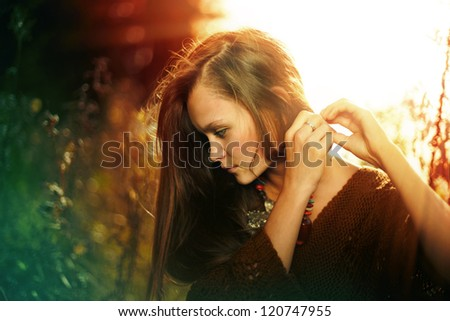 portrait of a beautiful, mysterious girl in forest, mother preroda, fashion spring autumn