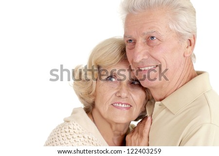 portrait of a beautiful old pair on a white