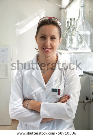portrait of a beautiful scientist woman