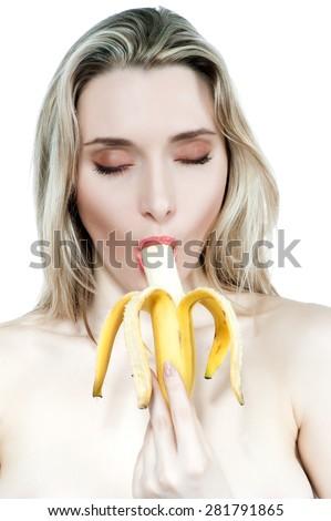 eating Sexy banana blonde