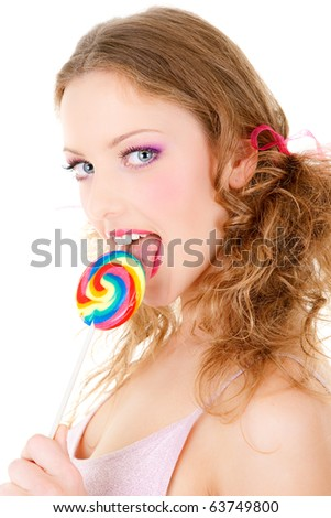 stock photo : portrait of a beautiful sexy girl licking lollipop