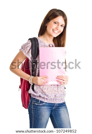 Portrait of a beautiful smiling student. Isolated on white