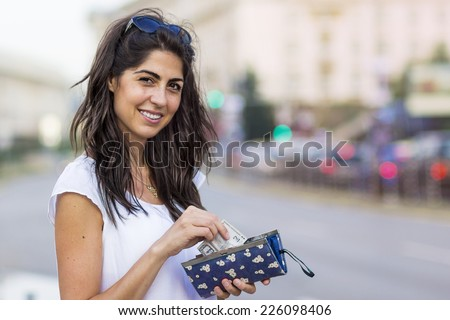portrait of a beautiful smiling woman outdoor  #226098406