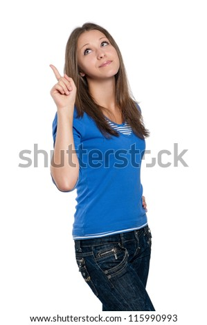 Portrait of a beautiful teen girl gesturing against isolated white background