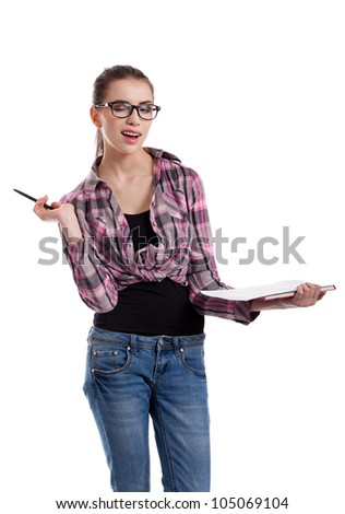 portrait of  a beautiful teen girl, holding a pen, winking, isolated on white background
